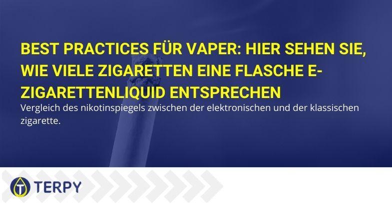 wie viele Zigaretten eine Flasche e-Zigaretten-liquid entsprechen