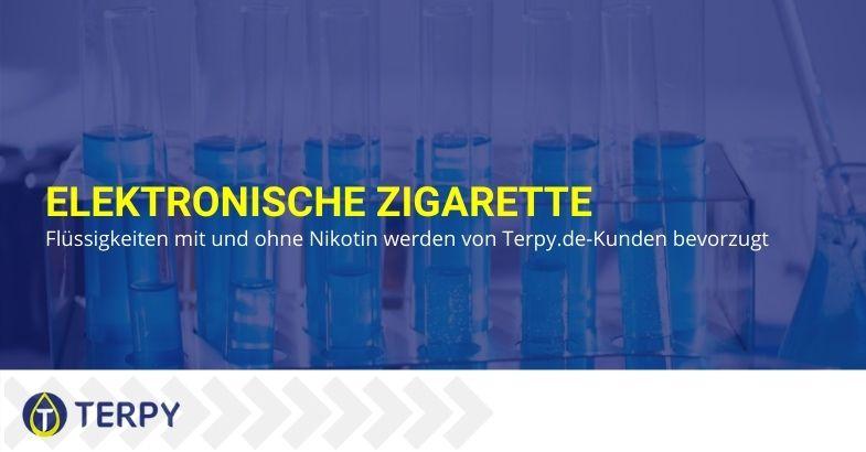 Flüssigkeiten mit und ohne Nikotin für E-Zigaretten, bevorzugt von Terpi.de-Kunden