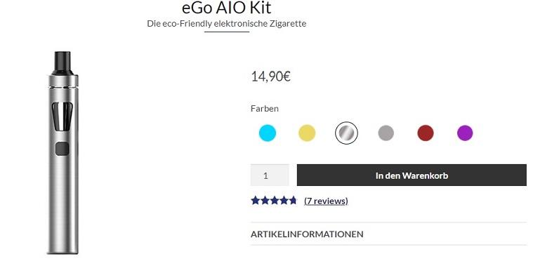 Die preiswerte elektronische Zigarette ego aio kit